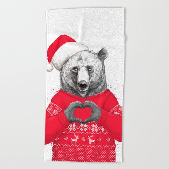 christmas bear Beach Towel