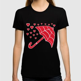 Red Umbrella with Raining Hearts T-shirt