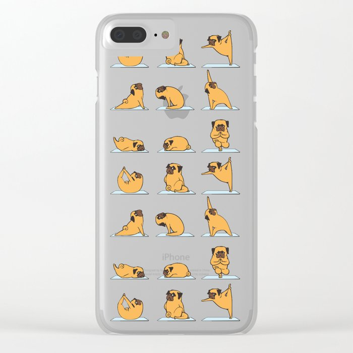Pug Yoga // Pink Clear iPhone Case