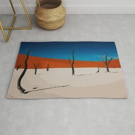 Desert in pop-art style with sand, nature, trees in the sahara Rug