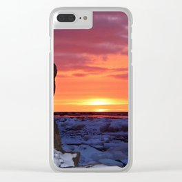 Golden Sunset on Sea and  Snow Clear iPhone Case