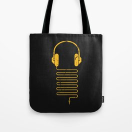 Gold Headphones Tote Bag
