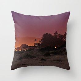 Gold Beach At Night Throw Pillow