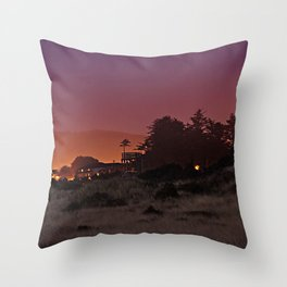 Gold Beach At Night Throw Pillow