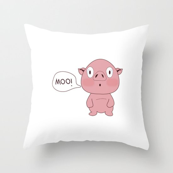 SOLD!! Confused Pig Throw Pillow