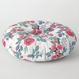 Cute Rose Pink Peonies Watercolor Paint Gold Dots Design Floor Pillow
