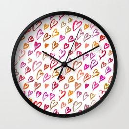 Colourful hearts seamless pattern Wall Clock