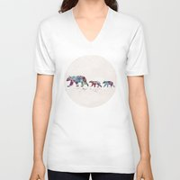 bears V-neck T-shirts featuring Bears by Watercolorist
