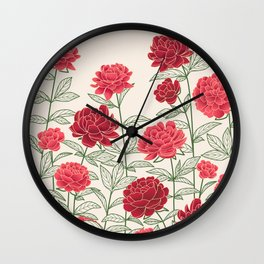 Red Floral Peonies Pattern Wall Clock