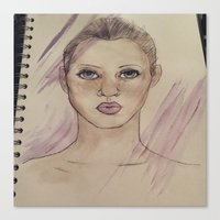 kate moss Canvas Prints featuring Kate Moss by Jade Lenehan