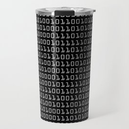 Gray-on-black Binary Code Pattern Travel Mug