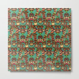 Tiki Head Pattern Metal Print