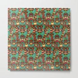 Tiki Head Pattern Metal Print