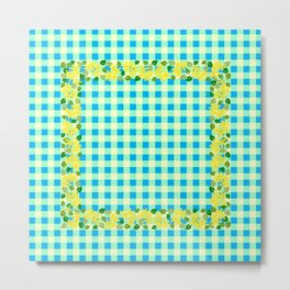 Yellow Flowers on Multicolor Check - more colors Metal Print
