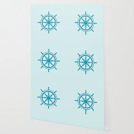 AFE Ship Wheel Teal, Nautical Art Print Wallpaper