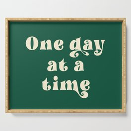 One day at a time Motivational Typography Green  Serving Tray