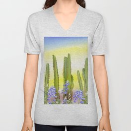 Tall Cactus and Bluebonnet Unisex V-Neck