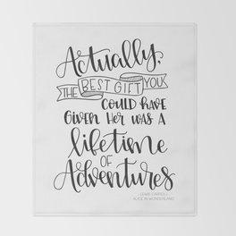 Lifetime of Adventures - Alice in Wonderland Quote Throw Blanket