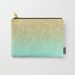 Modern gold ombre mint green block Carry-All Pouch