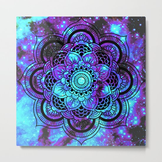 Mandala : Bright Violet & Teal Galaxy 2 Metal Print