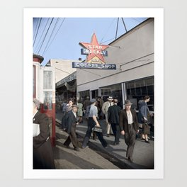 Pedestrians outside the A.B.C. Coffee Shop, 3700 East Hastings Street , Vancouver 1940s Art Print