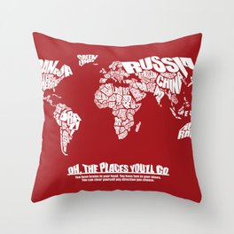 Oh The Places You'll Go - World Word Map with Dr. Seuss Quote Throw Pillow