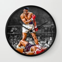 Mama Said I'm Gonna Knock You Out - Ali Knocks out Liston Boxing Portrait Painting oil on canvas Wall Clock