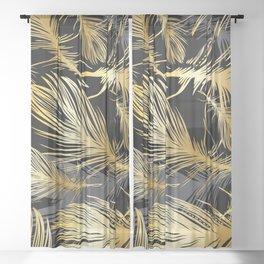 Les Plumes (Gold) Sheer Curtain