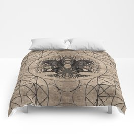 Tree of life - with ravens wooden texture Comforters
