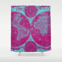 World Map (1730) Pink & Light Blue Shower Curtain
