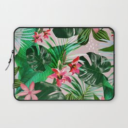 Tropical palm leaf with red flowers Laptop Sleeve