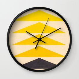 Colorful Ombre Yellow Geometric Triangle Pattern Wall Clock