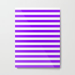 Narrow Horizontal Stripes - White and Violet Metal Print