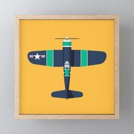 F4U Corsair WWII Fighter Aircraft - Stripe Framed Mini Art Print