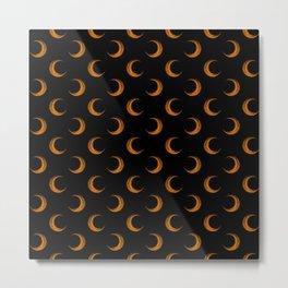 Pumpkin Orange Crescent Halloween Moons On Spooky Black Metal Print