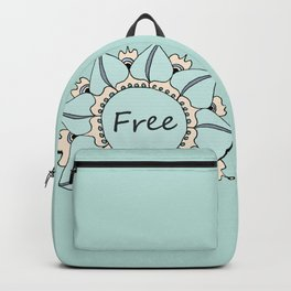 I Feel Free - Soft Light Blue Nouveau Bohemian Mandala Backpack