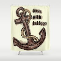 tattoos Shower Curtains featuring boys with tattoos by Inphocus Photography