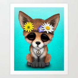 Cute Baby Fox Hippie Art Print