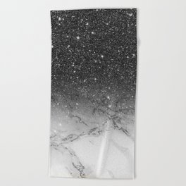 Stylish faux black glitter ombre white marble pattern Beach Towel