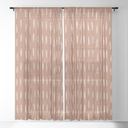 Boho Raindrops Abstract Pattern, Terracotta Sheer Curtain