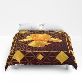 BROWN ART DIAMOND PATTERN GOLDEN BEARDED IRIS Comforters
