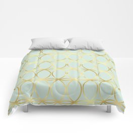 Modern Pastel Green Background with Golden Yellow Circle Lattice Comforters