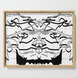 Artistic bat in the darkness , Abstract, art, Gray, black,  graffity, points, bat Serving Tray