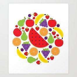 Colorful Fruit Circle Art Print