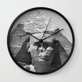 Egypt - Cairo Pyramids Great Sphinx - black & white Photography Wall Clock