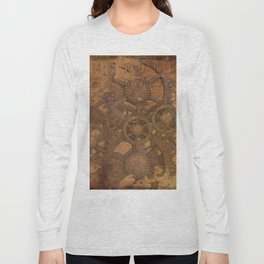 Vintage Gears Pattern (Color) Long Sleeve T-shirt