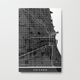 Chicago - Minimalist City Map Metal Print