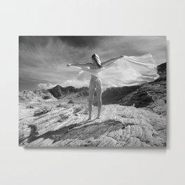 2254 B&W Nude Woman Naked Desert Feminine Nature Classic Female Form Beautiful  Metal Print