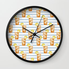 ice sweet tea summer southern stripes food fight apparel and gifts Wall Clock