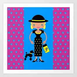 French Chic girl with poodle Art Print